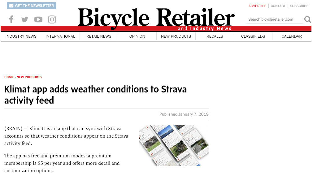 Bicycle Retailer article